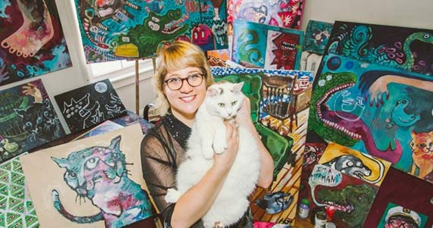Halloway Jones, her cat and a whole whack of art. - SCOTT BLACKBURN