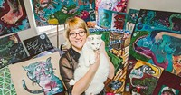 Halloway Jones, her cat and a whole whack of art.