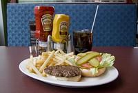 Hamburger platter, Crown Diner.