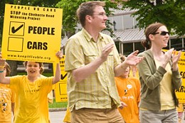 Honk for People Chebucto Road protesters gathered in front of City Hall Tuesday. photo Nick Rudnicki.