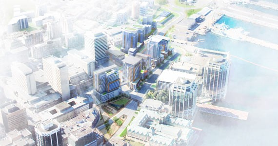 How downtown could look after cleaving the Cogswell Interchange blockage. illustration courtesy Ekistics Plan+Design