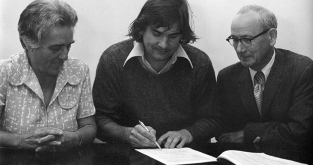 Lib Connor, secretary of the NSCAD board, president Garry Neill Kennedy and board chair Darrell Mills signing the lease for the downtown campus in 1976. - COURTESY ANNA LEONOWENS