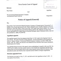 May Ocean's notice of appeal