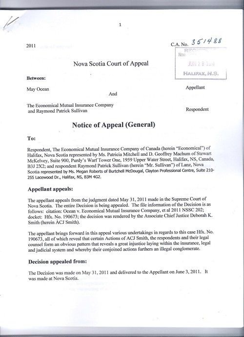 May Oceans notice of appeal