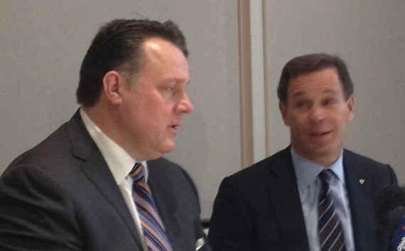 Mayor Mike Savage, left, and CFL commissioner Mark Cohon take questions from the media.