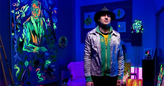 Mitchell Wiebe and his fluorescing creations. - AARON MCKENZIE FRASER