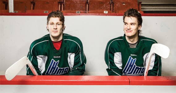 Mooseheads staff worked miracles to get stars Nathan MacKinnon (left) and Jonathan Drouin into Halifax uniforms. - RILEY SMITH
