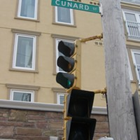 "No ""stop"" hand at Cunard crosswalk"