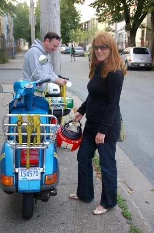 Nothing drives city style more than a Vespa. But what we noticed as Jessica drove by us were her shiny gold flats. A little Europe on Maynard.