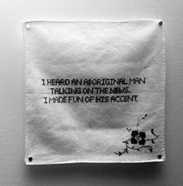 HARLEEN RANDHAWA - Tamara Huxtable embroidered confessions onto vintage hankies to come to terms with her oppressive behaviour.