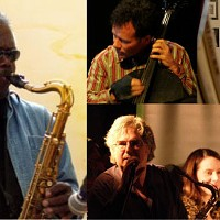 Open Waters participants past and present, including this year's visitor Joe McPhee (left).