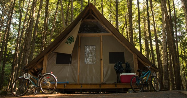 Part tent, part cabin, Parks Canada's oTentik is the best place possible to earn your glamping stripes---no sleeping on the ground, no rain soaking through the walls, it even has a veranda, people. Apprehensive and glamorous campers can reserve one at Kejimkujik at reservation.pc.gc.ca.