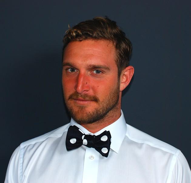 Pro-surfer/convincing male model, Dean Petty, wears the Detroit Jazz well