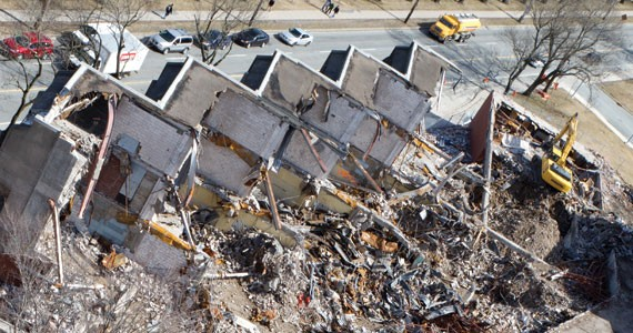 Queen Elizabeth High School is coming down, with plans for an urban garden to be planted on the land. - JANEK LOWE