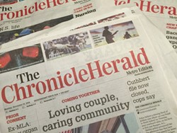 Recent print editions of Halifax's Chronicle Herald newspaper.