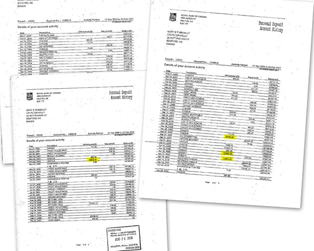 Records from Mary Thibeault's bank account.