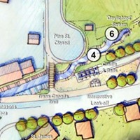 Rendering of a portion of the potential daylighted Sawmill River from the 2006 canal greenway report.