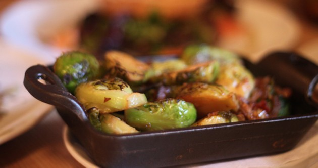 Salty but beautiful Brussels sprouts and bacon.