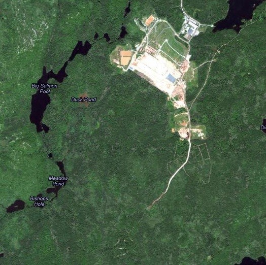 Satellite view of the Otter Lake landfill. The new road stretches to the south. - GOOGLE MAPS