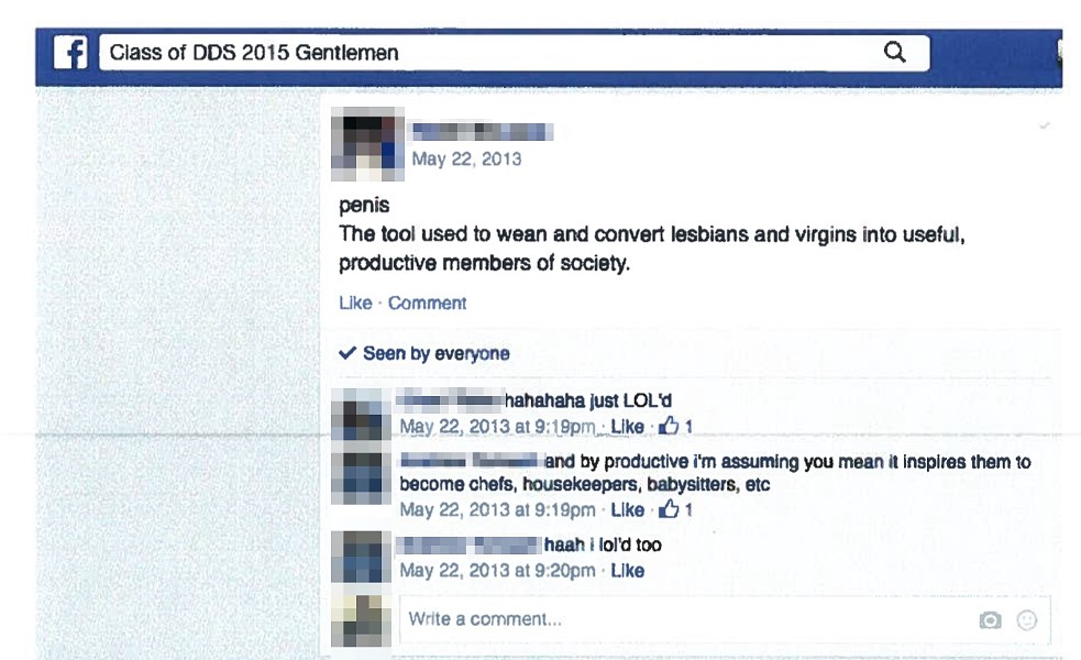 Screen shot of a Facebook page where a group of men talk about the penis being a tool used to make virgins and lesbians productive members of society.