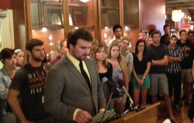 SMUSA president Jared Perry, with many of the 80 other student leaders, held a press conference today about the pro-rape chant they used at Frosh Week.
