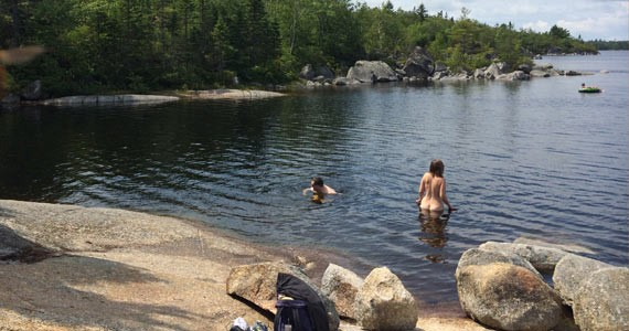 Susies Lake proves a perfect spot for a naked swim. - EVEY HORNBECK