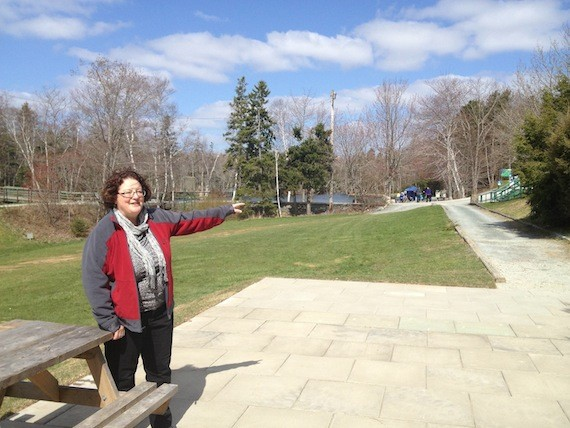 Suzanne Roy shows off the Fairbanks Centre patio.