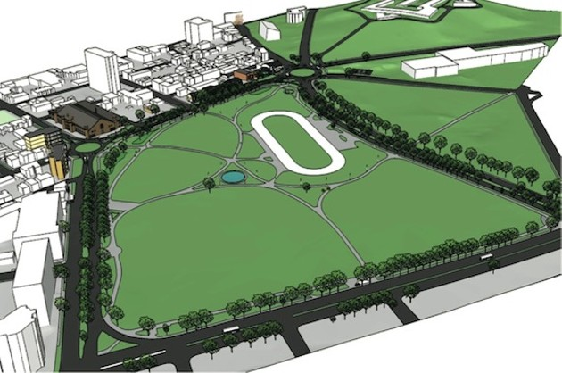 The Common with two new roundabouts along North Park Street (upper edge of diagram).