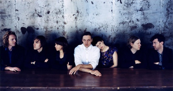 The core of Arcade Fire: Richard Reed Parry, Will Butler, Sarah Neufeld, Win Butler, Regine Chassagne, Tim Kingsburyand Jeremy Gara.