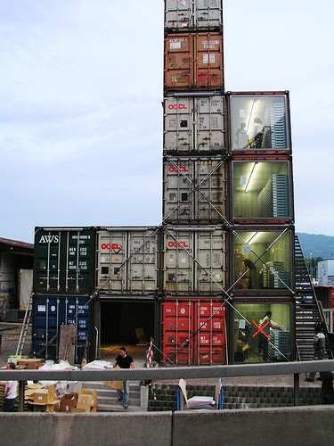 The FREITAG SHOP ZURICH is completely built from rusty, recycled freight-containers. Lovingly they were gutted, reinforced, piled up and secured. Zurich's first bonsai-skyscraper: Low enough not to violate the city's restriction on high-rise buildings. High enough to send shivers down anyone's spine.