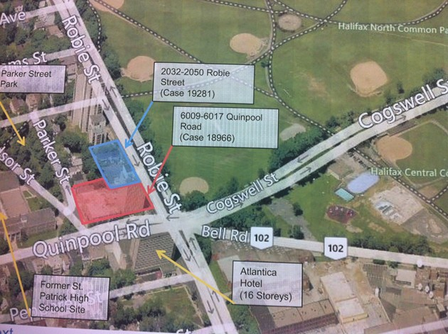 The proposed locations, at the southwest corner of the Halifax Common.