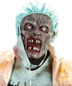 This is not a real doctor or a zombie. Hes not even one of the cast, just some undead guy on the internet.