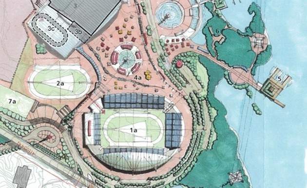This is the stadium that was proposed for Halifax's Commonwealth Games bid-- also at Shannon Park.