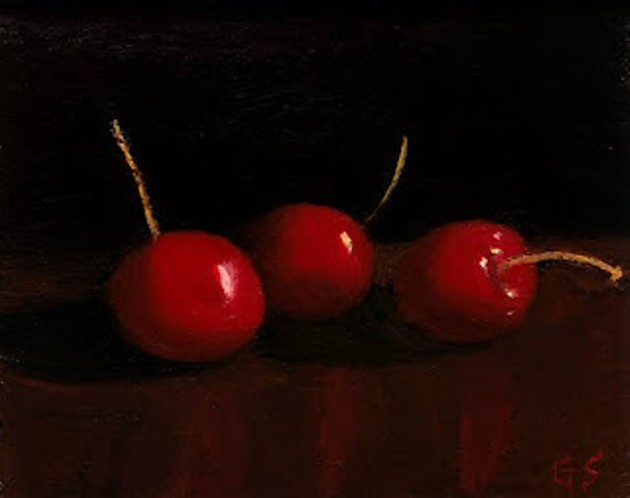 """""""Three Cherries"""" oil on canvas by George Spencer"""