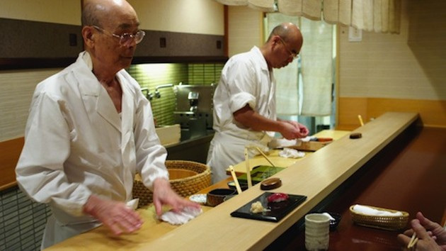 Tokyo sushi master/dreamer Jiro Ono, left, and his son Yoshikazu.