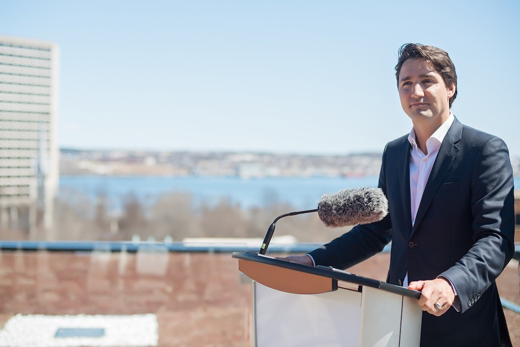 Trudeau addresses film tax credit cut during a media appearance at the Halifax Central Library. - JENNIFER MURPHY