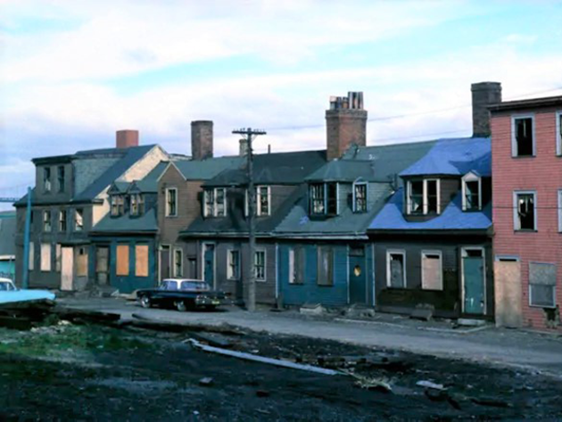 This row of houses on Starr Street near Hurd Street in 1961 was demolished for the Cogswell Interchange. - HALIFAX MUNICIPAL ARCHIVES
