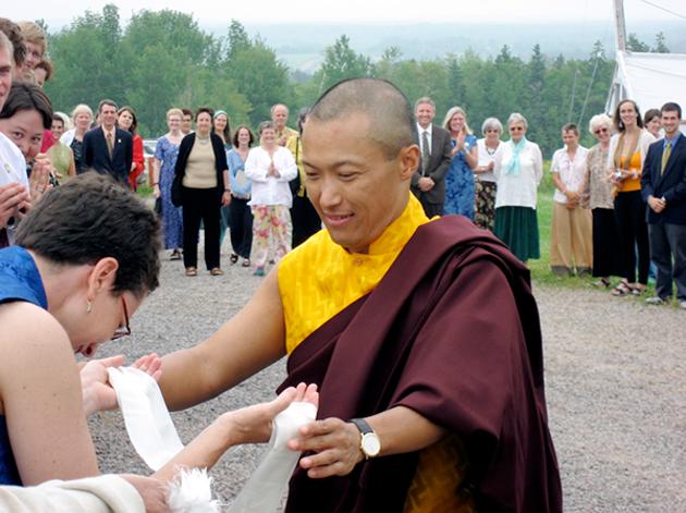 Osel Mukpo greeting Patricia Ullman at Dorje Denma Ling in Tatamagouche, circa 2007 - PATRICIA ULLMAN