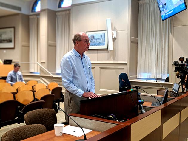 Bill Stewart from Neighbours Speak Up addresses Halifax west and community council. - CAORA MCKENNA