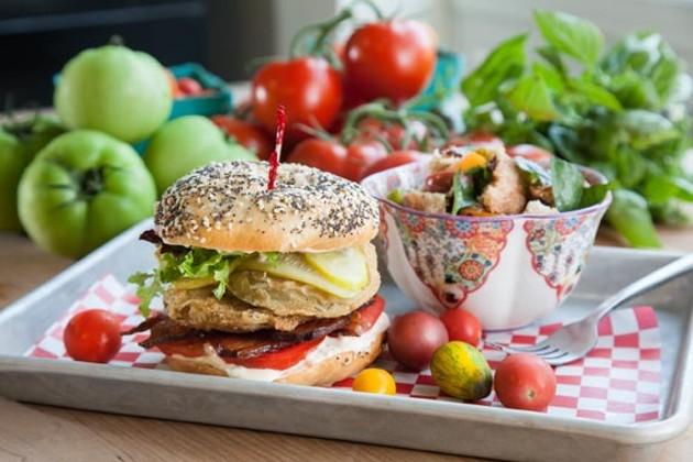 Attack the killer tomatoes—a fried green tomato sandwich and Panzanella salad. - JORDAN BLACKBURN