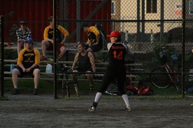 The Aluminum Falcons' Amanda Thompson takes her swing. - JONATHAN BRIGGINS