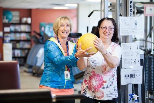Donna Hyland (left) and Anne Hanlon enjoying a workout session at Northwood. - JORDAN BLACKBURN