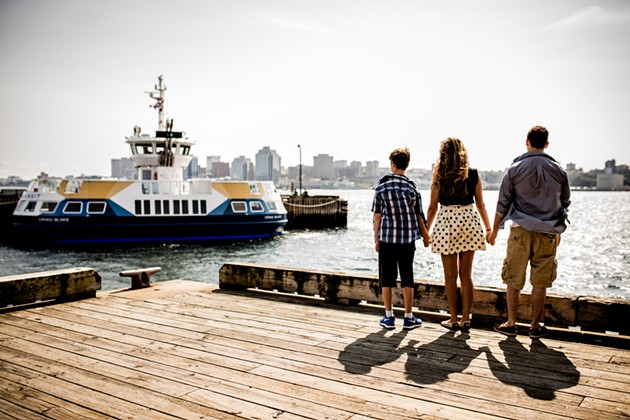 Tie, Priscilla and Cain Blake on the Dartmouth waterfront - RILEY SMITH