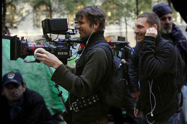 Director Avi Lewis (right) and DP Mark Ó Fearghaíl in New York. - ED KASHI