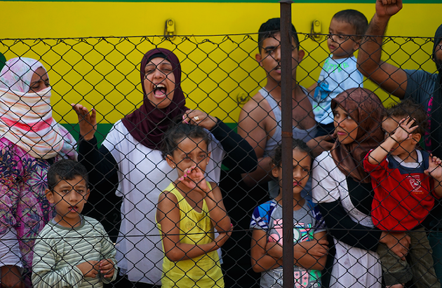 Syrian refugees striking at the platform of Budapest Keleti railway station. - MSTYSLAV CHERNOV