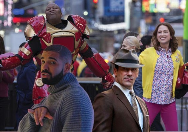 Count down to 2016 with cowl-neck Drake, the unbreakable Tituss and Kimmy Schmidt and dapper Don Draper.