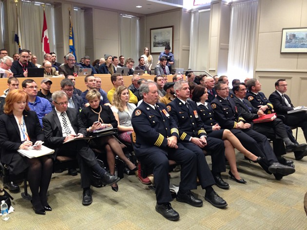 The assembled municipal employees, firefighters, reporters and citizens gathered at council to hear Trussler speak this week. - THE COAST