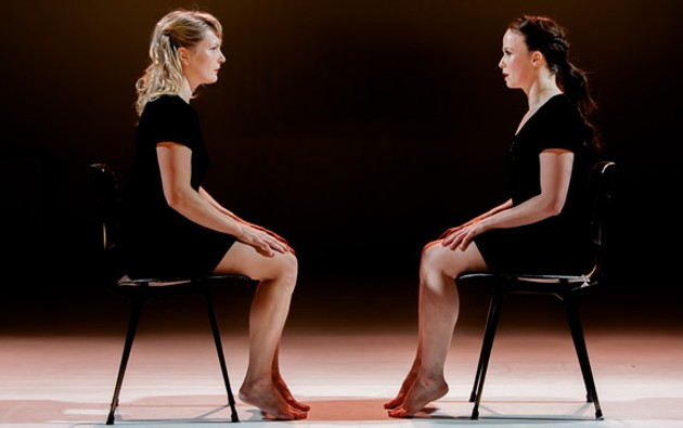 Cecilia Moisio (left) and Katarzyna Sitarz face off in Juxtapose. - SIGEL ESCHKOL