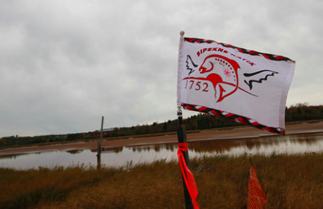 The Sipekne'katik flag waves at the proposed brine storage site. - VIA THE COUNCIL OF CANADIANS