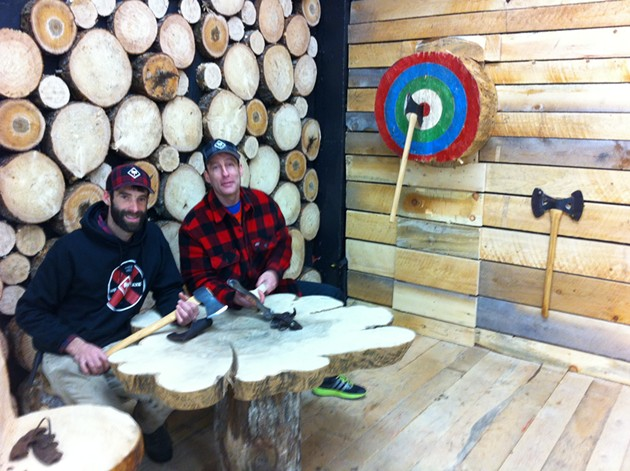 Darren Hudson (left) with pro lumberjack athlete and Halifax firefighter Darren Casey in the Timber Lounge